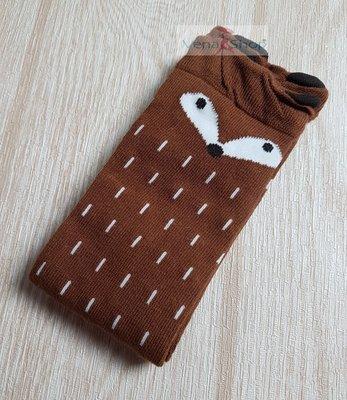 秋冬款  女童襪 * 卡通 小狐狸襪 * 幼童 * 咖啡色 中筒襪  現貨