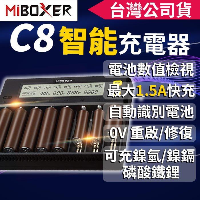 【傻瓜批發】MiBOXER C8 1.5A*8槽 快充電流可調 液晶顯示 18650鋰電池充電器/鎳氫/磷酸鋰鐵電池