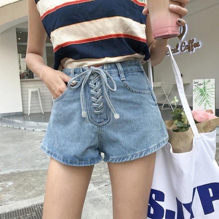 YEAHSHOP 牛仔短褲 淺色牛仔短褲時尚顯瘦綁帶韓版高Y185
