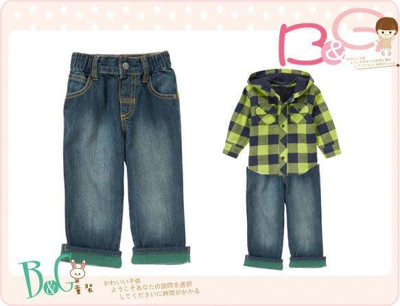 【B& G童裝】正品美國進口GYMBOREE Thermal Cuffed Jeans 綠色裝飾褲圍牛仔長褲2yrs