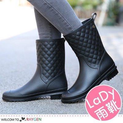 八號倉庫  時尚女士休閒菱格防滑雨靴 ...
