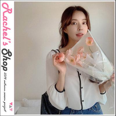韓國空運*cherrykoko黑色線條撞色滾邊方領雪紡紗襯衫[CK-CB02GEBL6]Rachel's Shop