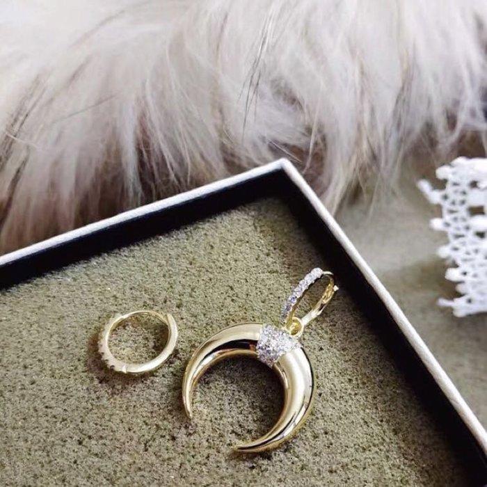 💎1435、珍貴優雅金亮象牙微鑲輕珠寶耳環💎正韓飾品 耳環 珠寶 925純銀針
