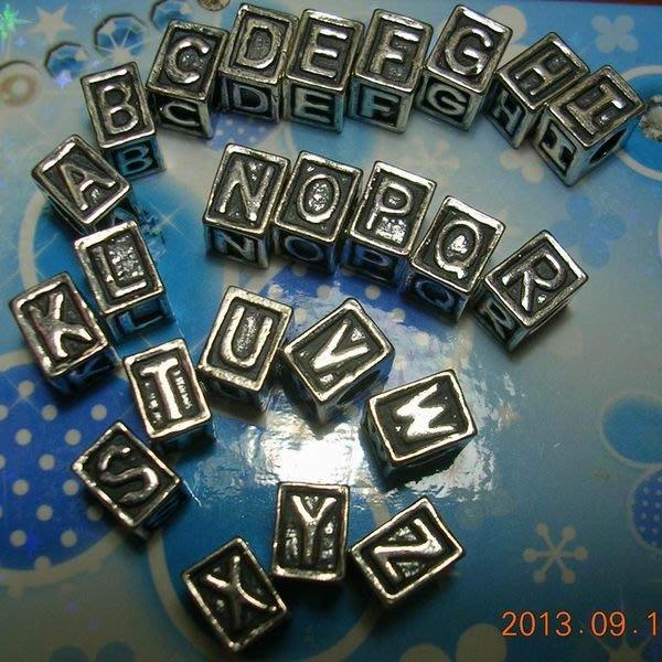 琥珀貓~【925純銀】造型大孔方珠~N8945款~英文字母~約8X6mm, 孔4mm~一個