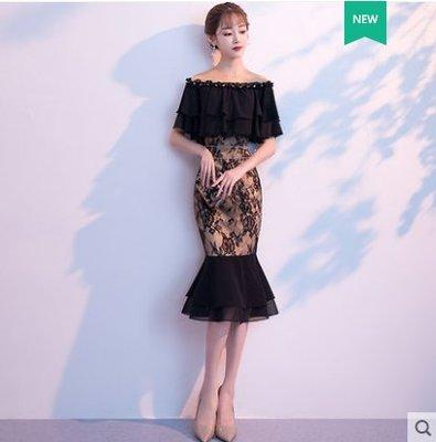 宴會晚禮服女2018新款高貴優雅黑色一字肩魚尾裙名媛主持人中長 (S M L XL XXL)