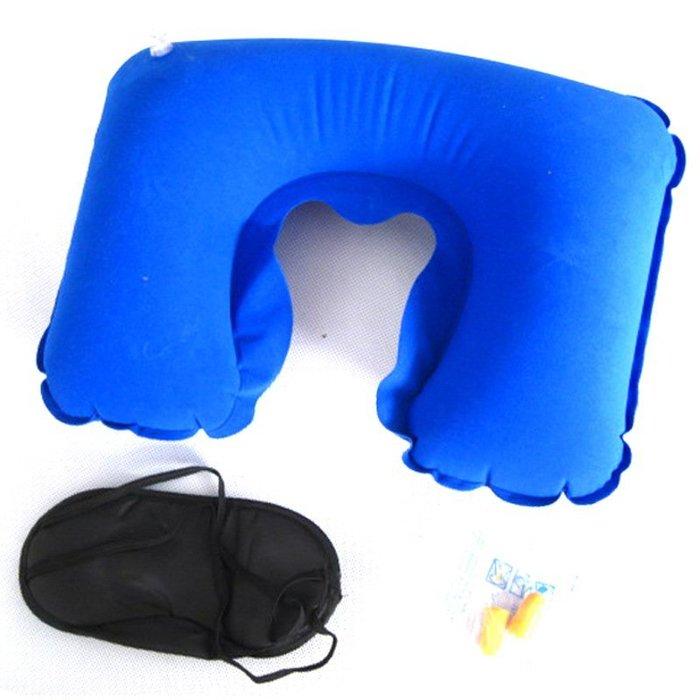 午休枕 靠枕 汽車枕 U型護頸枕 充氣U型枕三件套旅遊三寶充氣枕頭+遮光眼罩+隔音耳塞旅遊辦公室必備