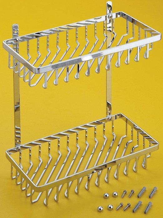 [勞倫斯衛浴生活商場] 不鏽鋼 單扁鐵雙層方型架 置物架 L2684  收納 *淋浴拉門、浴櫃*