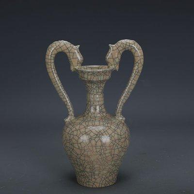 ㊣姥姥的寶藏㊣ 宋代哥窯金絲鐵線支釘雙龍尊  出土文物古瓷器古玩古董收藏擺件