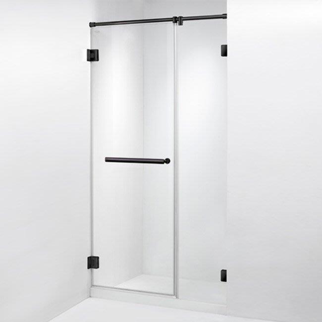 ITAI 毅太淋浴拉門-皇冠5800黑珍珠系列一字型單開門+左右固定面181~200xH200內
