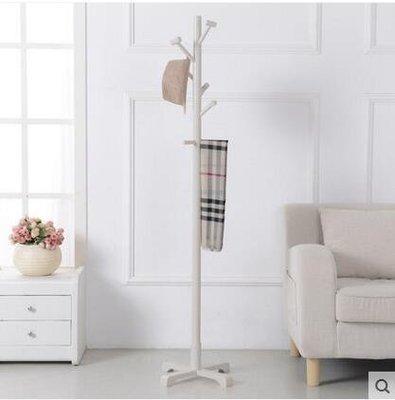 【優上】實木衣帽架落地掛衣架臥室衣服架子簡易歐式現代掛包架「白色」