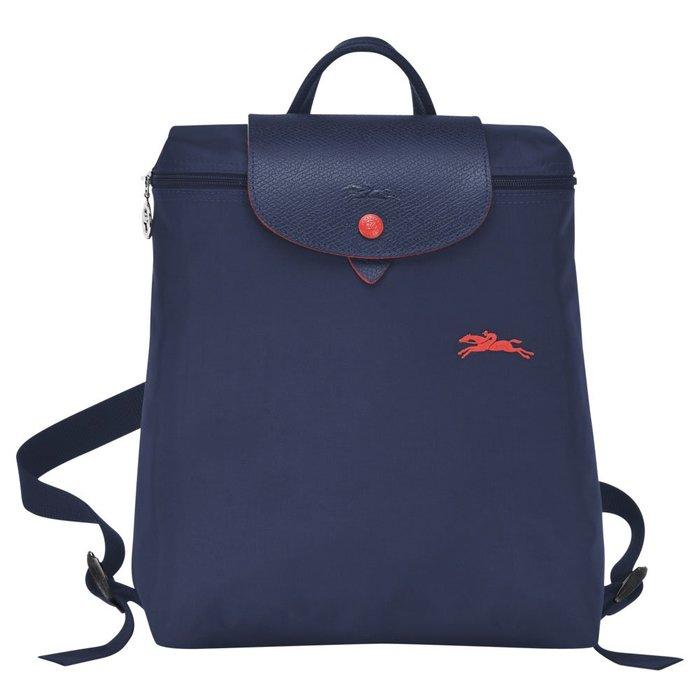 蘇菲亞巴黎  Longchamp   摺疊款 賽馬包後背包 深藍色 ~現貨特價