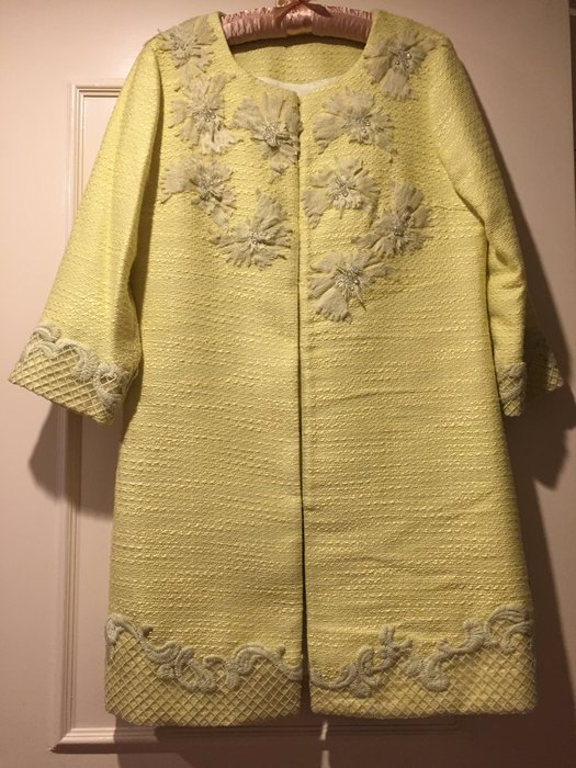 夏姿款 鵝黃色水晶珠 珍珠羊毛薄外套 氣質高雅