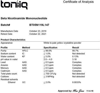 美利旗艦代購~美國發 Toniiq 高純度 NMN 9000 煙酰胺單核苷酸 NAD+ 60粒膠囊