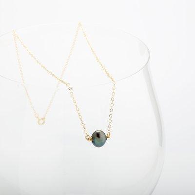 14KGF 包金/注金 墨綠 淡水珍珠 項鍊