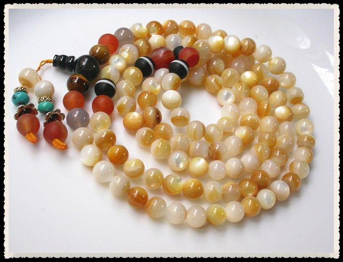 【雅之賞|藏傳|佛教文物】*特賣*天然珍珠貝硨磲(7.5mm)108顆念珠~Q1413