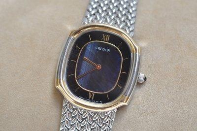 《寶萊精品》CREDOR 貴朵金黑橢圓石英女子錶