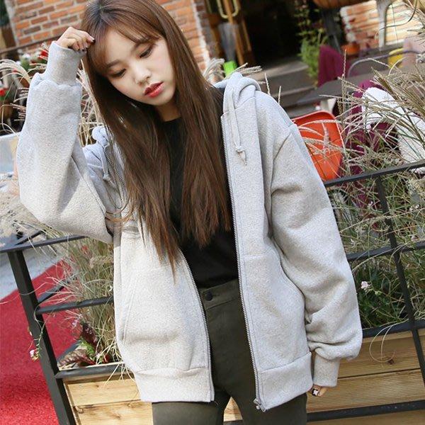 秋冬加絨加厚衛衣女開衫韓版學生連帽外套女寬鬆大碼休閒運動上衣