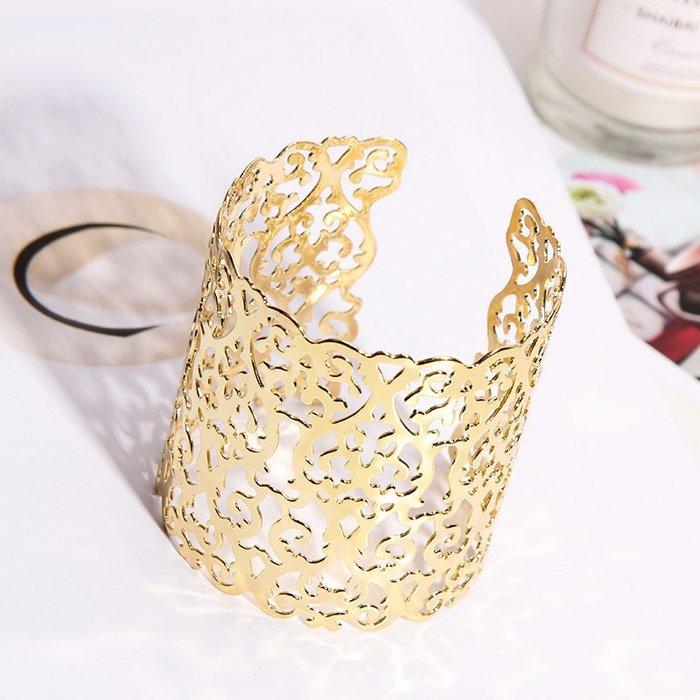 歐美遮疤痕金屬朋克時尚金色手鐲個性配飾品裝飾手環夸張手腕寬女時尚手環 夜店 朋克手環手鏈 仙女搭配