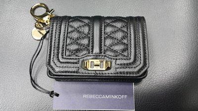 保證全新真品 Rebecca Minkoff Love Crossbody  黑色菱格紋零錢包/信用卡包/鑰匙包