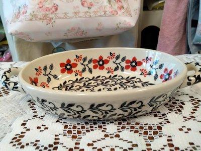 ~~凡爾賽生活精品~~全新波蘭進口紅花造型雙耳小烤盤.小菜盤.小餐盤