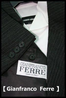 歐碼48真品【Gianfranco Ferre】深鐵灰細白條紋單排三扣羊毛成套西裝套裝