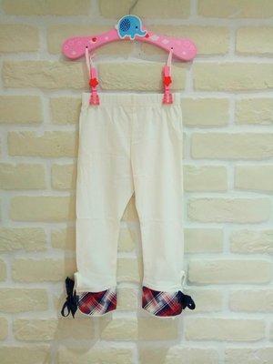 (現貨100~140cm)童春秋薄款下襬格紋綁帶七分褲/leggin/貼腿褲/內搭褲