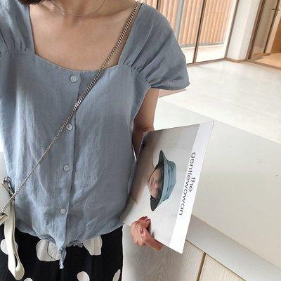 泡泡袖方領苧麻短袖襯衫女夏季2018新款百搭顯瘦休閑上衣