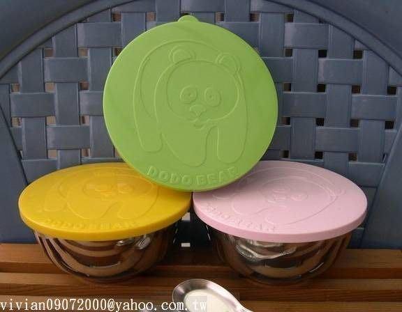 幼兒三色碗DODOBEAR組(正304雙層隔熱碗/彩色上蓋/18-8(正304)不鏽鋼湯匙)