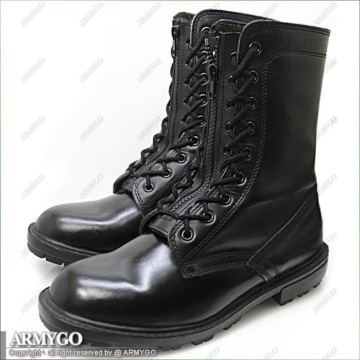 【ARMYGO】黑色全牛皮軍鞋 (飛行靴)
