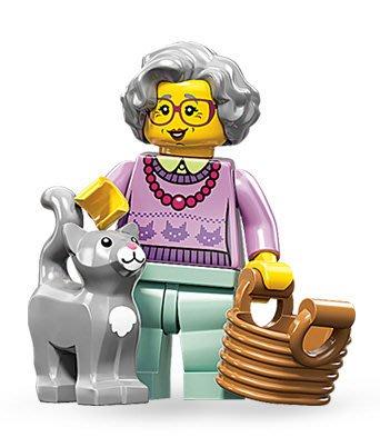 絕版品【LEGO 樂高】玩具 積木/ Minifigures人偶包系列: 11代 71002 單一人偶: 老奶奶貓咪籃子