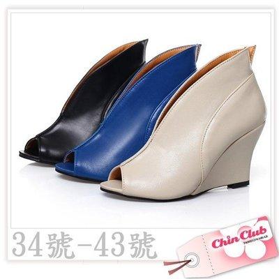 大尺碼小尺碼高跟踝靴 楔型高跟鞋 歐風V口修飾腿型露趾鞋41 42 43☆↖ChinClub↗☆[5015]