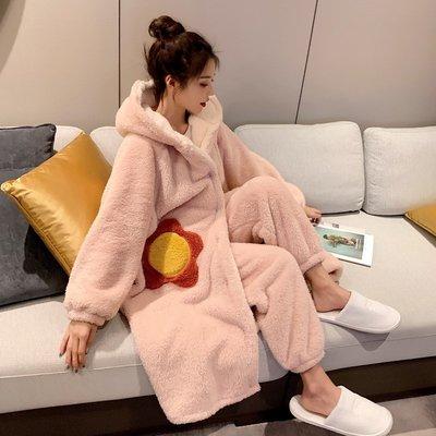 禾可可有賣場~日本代購gelato pique睡衣冬女珊瑚絨加厚可愛睡袍長款家居服套裝