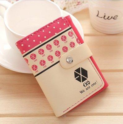 EXO同款 錢包 女短款 可爱 學生兩折錢包 少女皮夾(西瓜紅)