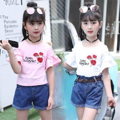 夏季女童T恤套裝中大童韓版休閒牛仔短褲兩件套 LQ2279