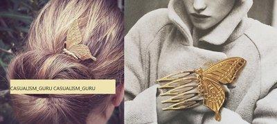 ◎美國代買◎韓國帶回復古氣質展翅金屬蝴蝶髮插髮梳髮夾髮飾~~請先問問~數量稀少