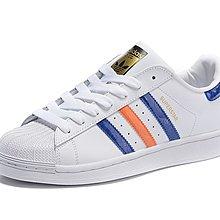D-BOX Adidas Original Superstar 白 藍紅線 貝殼頭 金標 皮革 情侶鞋 休閑鞋
