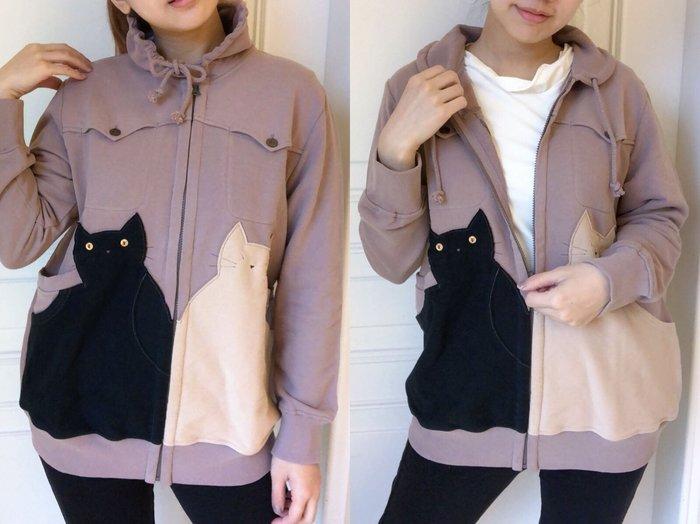 日本卡拉貓~大貓雙層口袋花苞領外套L