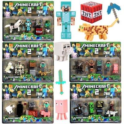 新品有實拍Minecraft麥塊當個創世神我的世界鑽石史蒂夫鐵傀儡凋零蜘蛛骷髏人模型拼裝積木人偶公仔兼容樂高積木小人仔