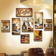 個性咖啡廳裝飾畫歐美複古懷舊咖啡店西餐廳掛畫無框畫咖啡館壁畫(8件一組)