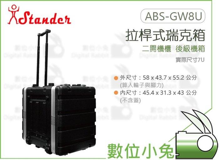 數位小兔【Stander 江楠 ABS-GW8U 拉桿式 瑞克箱】拉桿機箱 附輪 音響 二開機櫃 舞台 音響設備 瑞可箱