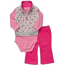 【安琪拉 美國童裝/生活小舖】Carter's 3件式套裝 –灰色愛心背心+包屁衣/連身衣+長褲