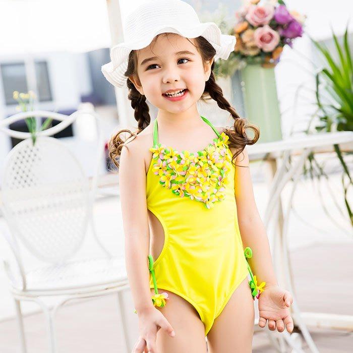5Cgo【鴿樓】含稅會員有優惠 553006677877 兒童遊泳衣女孩中小童寶寶萌娃黃色碎花系帶泳衣沙灘遊泳泡溫泉連體