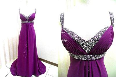 *~時尚屋~*婚紗禮服~紫色雪紡紗長擺設計師A字浪漫款~二手禮服~B427(歡迎預約試穿)