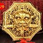 黃銅獅咬劍 獸頭睚眥 八卦鏡 木雕擺件