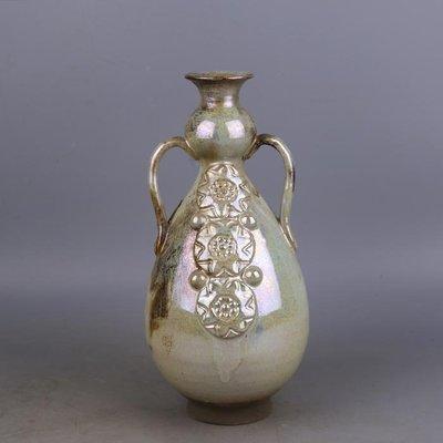【三顧茅廬 】唐代銀光窯金銀釉堆花雙耳瓶 出土文物古瓷器手工瓷古玩收藏擺件