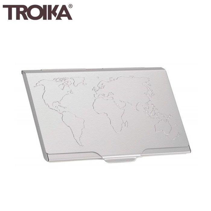 又敗家@德國TROIKA世界地圖防RFID夾名片夾信用卡夾CDC15-02/AL防感應卡夾防NFC側錄輕薄隨身卡匣名片盒