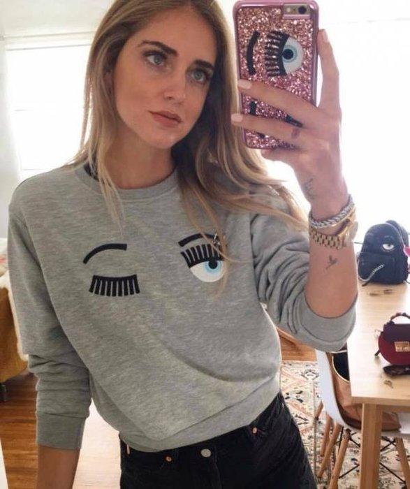 📦現貨在台💖專櫃52折☆全新真品Chiara Ferragni 眉環裝飾棉質長袖T-SHIRT上衣 XS/S/M/L