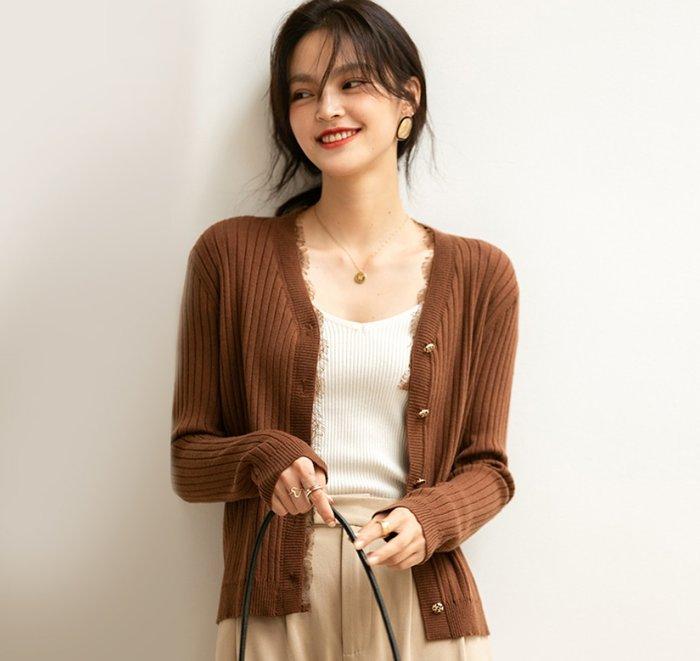YOHO 針織衫外套 (SDP5017) 實拍優雅V領蕾絲羊毛混紡針織衫外套 長袖上衣 小外套 有3色 M-L 預購
