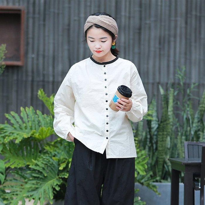 【鈷藍家】棉麻臆想 秋季新品襯衫上衣時光機高密高支紙感棉布豆腐白撞黑色邊休閒襯衣