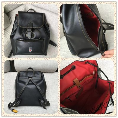 NaNa代購 COACH 38422 黑色/紅色 雙肩包 全皮 disney系列 容量大 附代購憑證 買即送禮